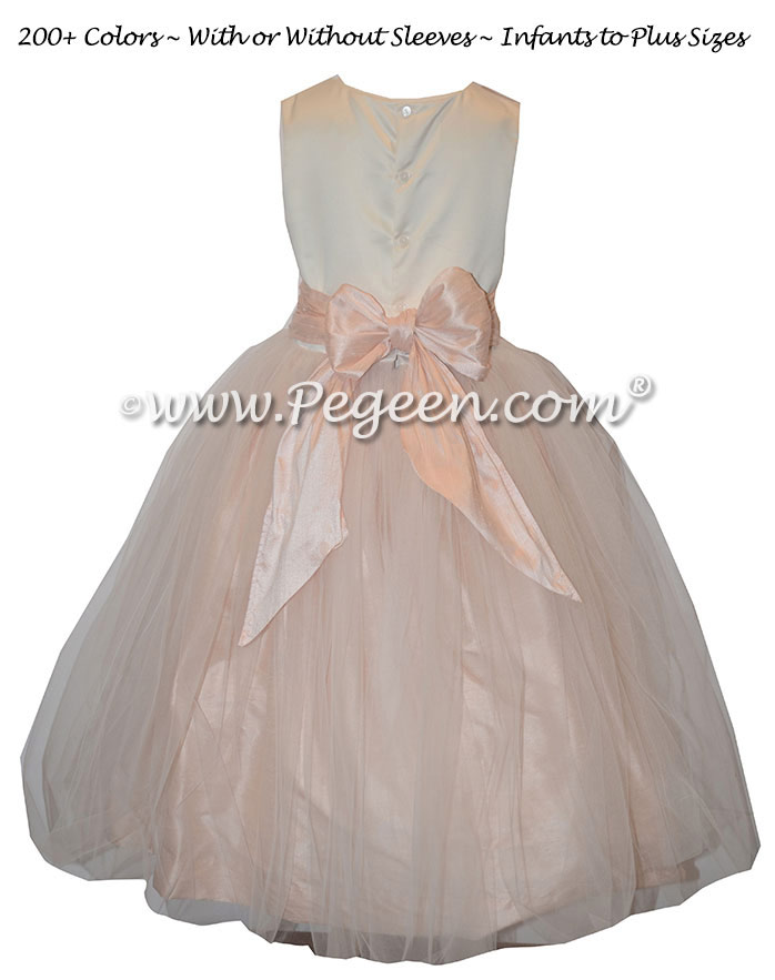 Ivory and blush pink tulle custom silk flower girl dresses
