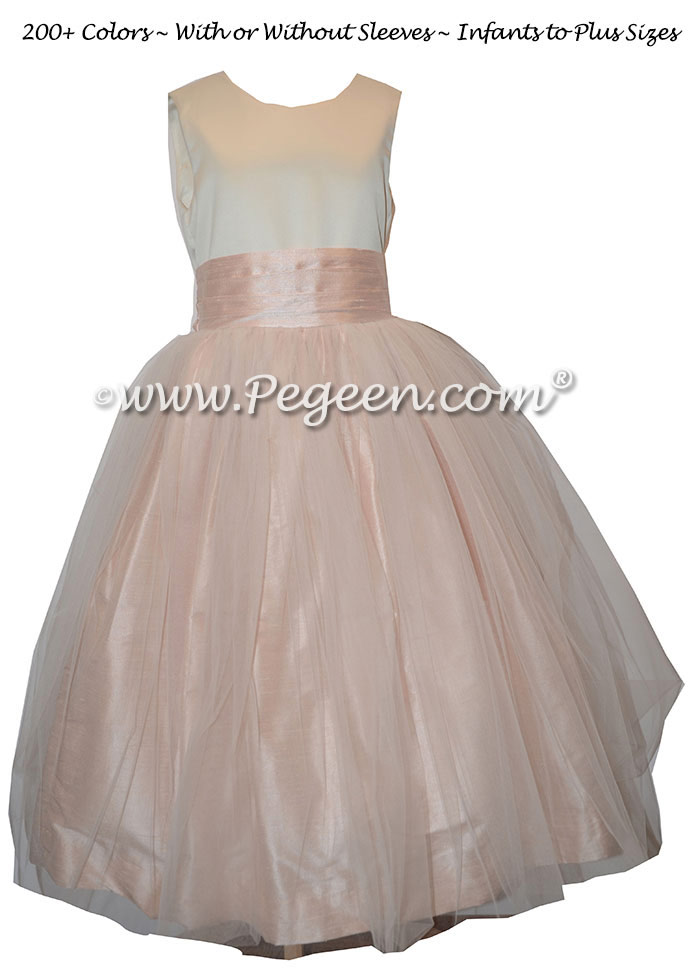 Ivory and blush pink organza and silk flower girl dresses