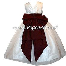 Burgundy Silk CUSTOM FLOWER GIRL DRESSES style 356 by Pegeen with Cinderella Bow