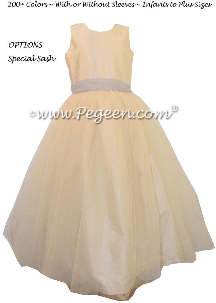 Buttercreme and Gray Tulle CUSTOM FLOWER GIRL DRESSES