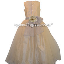 Buttercreme and Gray Tulle Custom Flower Girl Dresses style 356