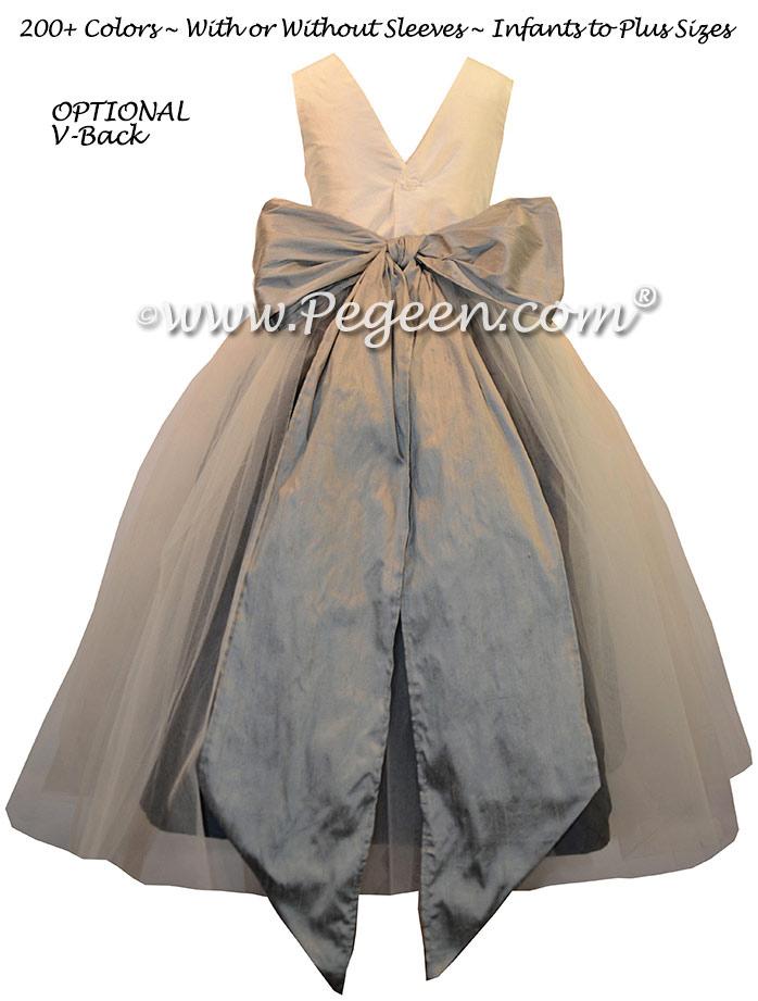 Medium Gray and Pewter Custom Flower Girl Dresses Style 356