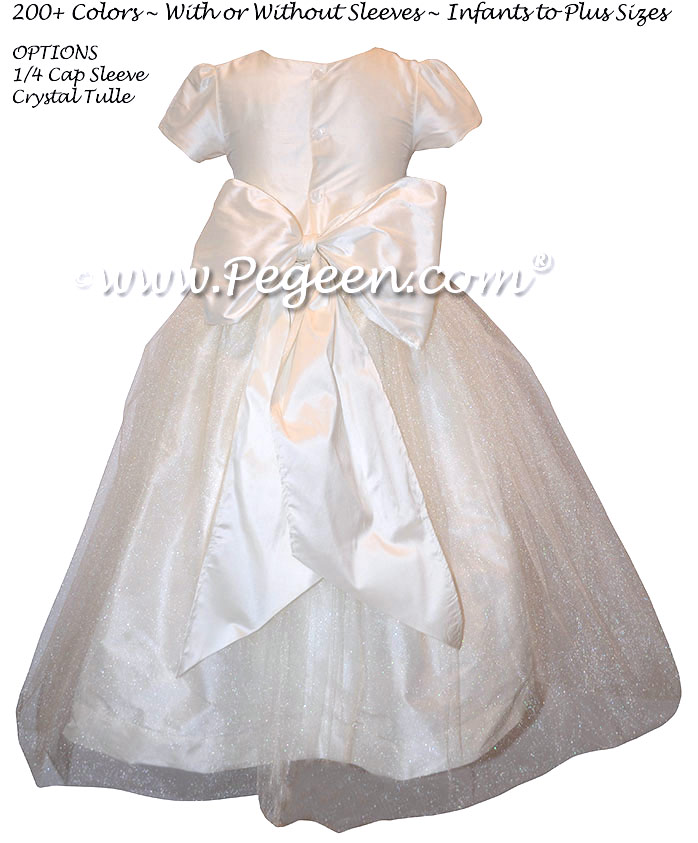 Antique White First Communion Dress with 1/4 Cap Sleeves Style 356