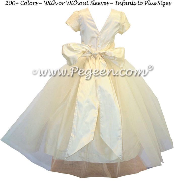 Custom Silk Flower Girl Dress in Tulle and Silk - Classic Style 356