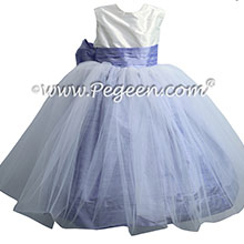 Antique White and Lilac Silk Flower Girl Dresses