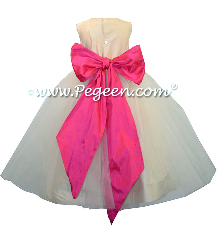 Bisque and Luscious Pink Custom Flower Girl Dresses Style 356