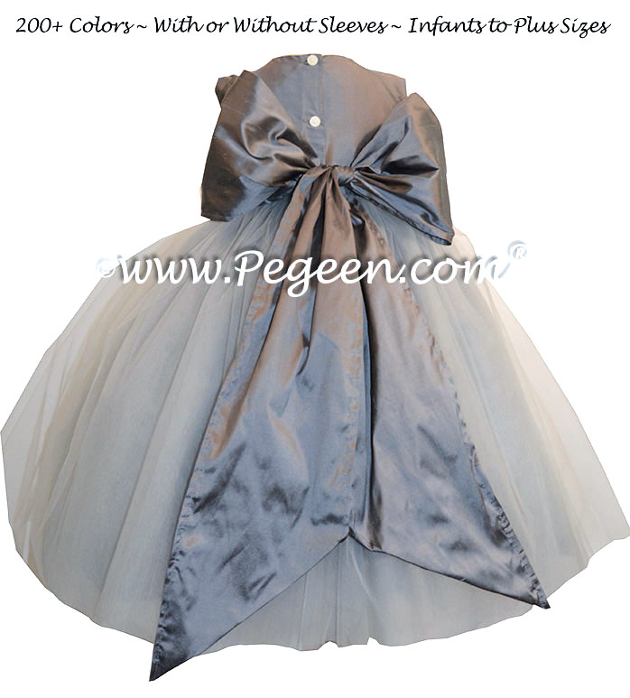 Flower Girl Dresses in shades of gray Gray Silk | Pegeen