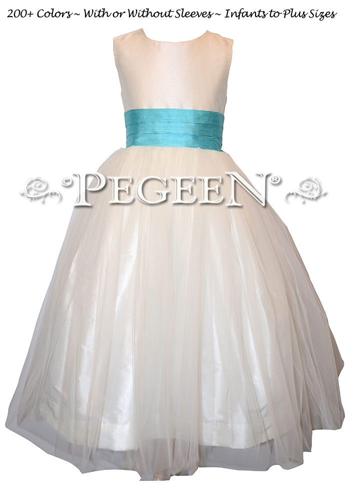 Pacific blue and white flower girl dress is a popular color for many wedding all year long.