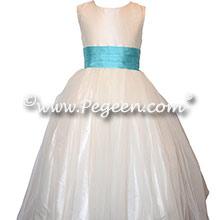 PACIFIC BLUE AND ANTIQUE WHITE SILK & TULLE CUSTOM FLOWER GIRL DRESSES