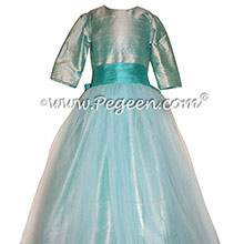 Bermuda Blue and Bahama Breeze tulle flower girl dresses