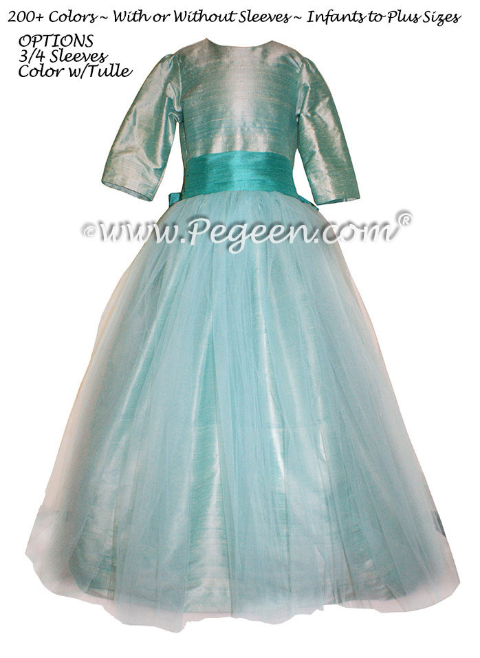 Seaside and Paradise Teal Silk with Tulle Flower Girl Dress