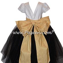 Black, Spun Gold & Antique White Flower Girl Dress Style 356