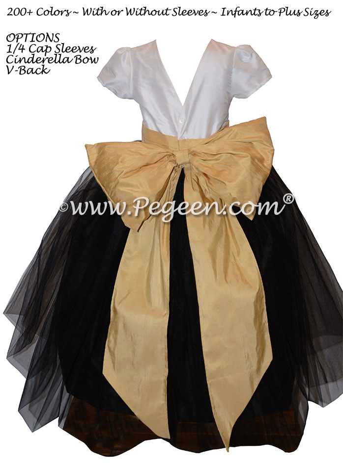 New Ivory, Black Tulle and Spun Gold silk custom flower girl dress Pegeen Couture Style 402
