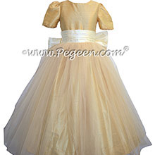 Flower Girl Dresses in Antique White and Pure Gold Style 356 by Pegeen