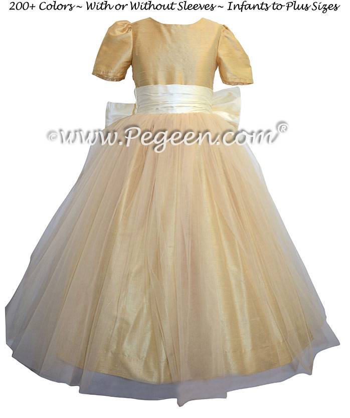 Flower Girl Dresses in Antique White and Pure Gold Style 356