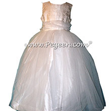 Antique White Damask Tulle CUSTOM FLOWER GIRL DRESSES style 356