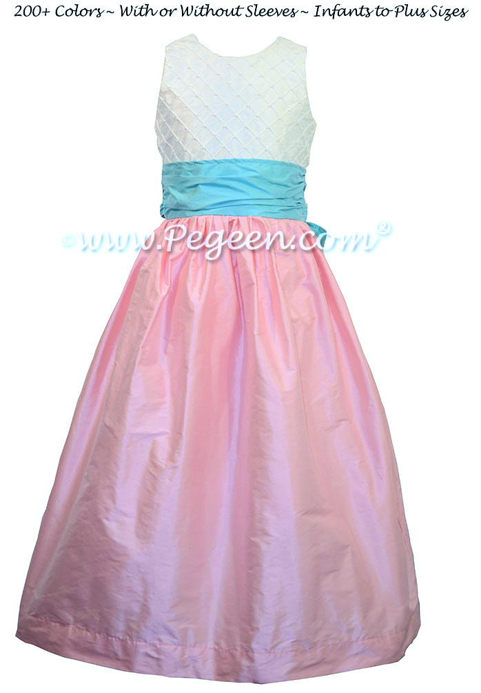 Bubblegum Pink and Turquoise Bahama Breeze and White Pin Tuck Bodice custom  flower girl dresses