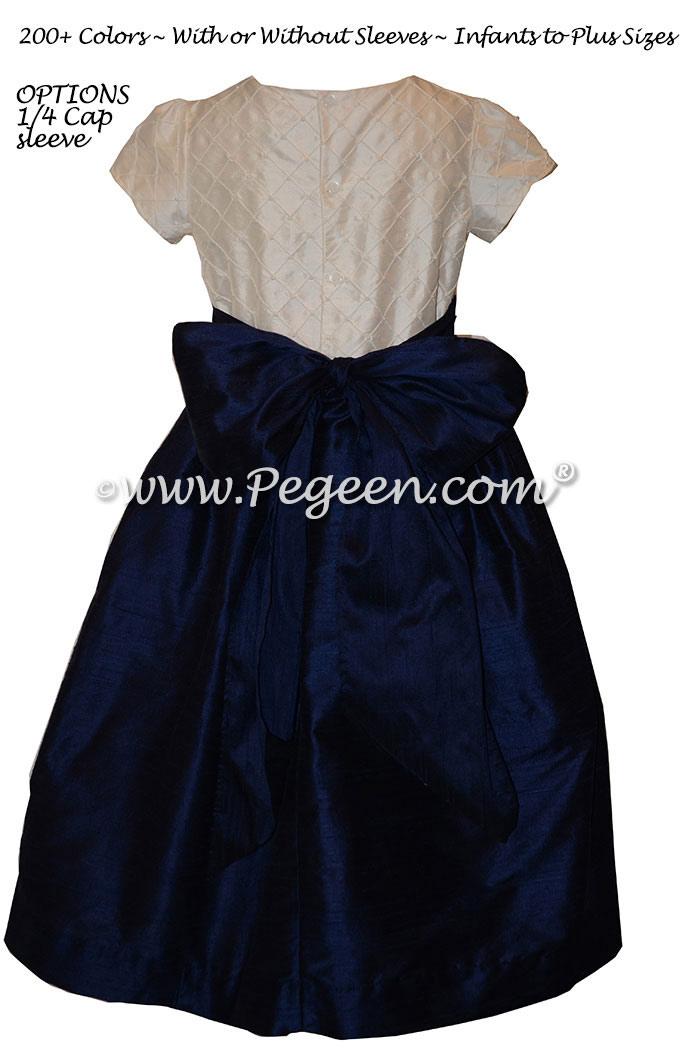 Navy and Ivory Pin Tuck Bodice custom flower girl dresses