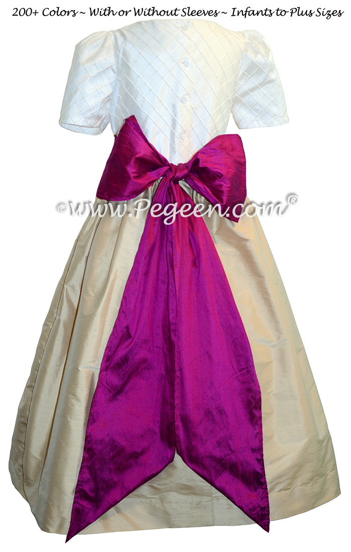 Flamingo Pink and Pure Gold and White Pin Tuck Bodice custom  flower girl dresses