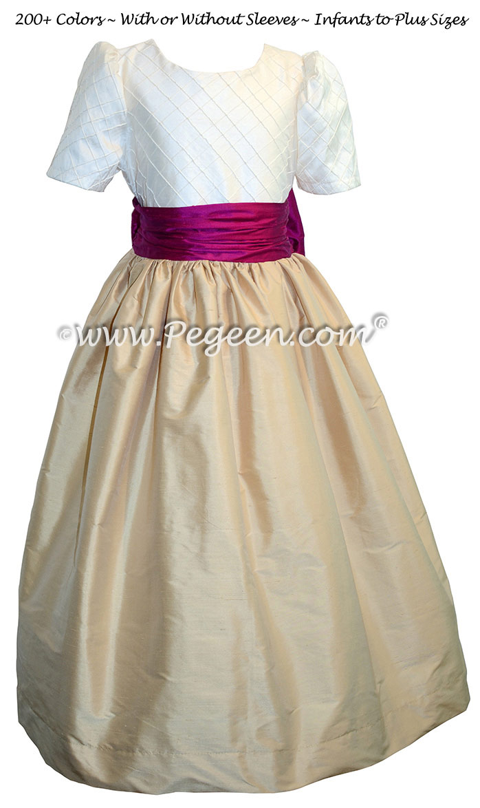 Spun gold, flamingo pink and Ivory Pin Tuck Bodice custom flower girl dresses