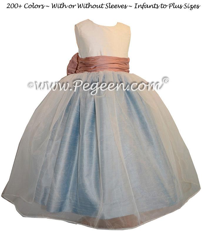 Rum Pink - Caribbean Blue and New Ivory silk Custom Flower Girl Dress