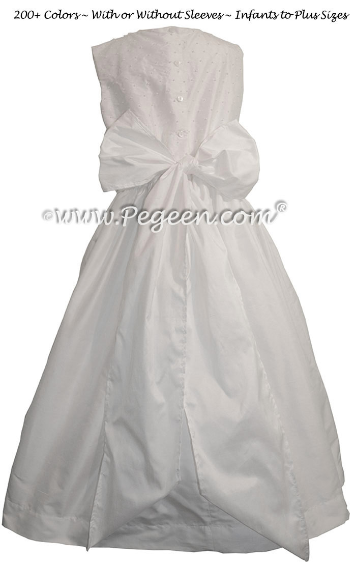Antique White Pearled Bodice First Communion Dresses Style 370