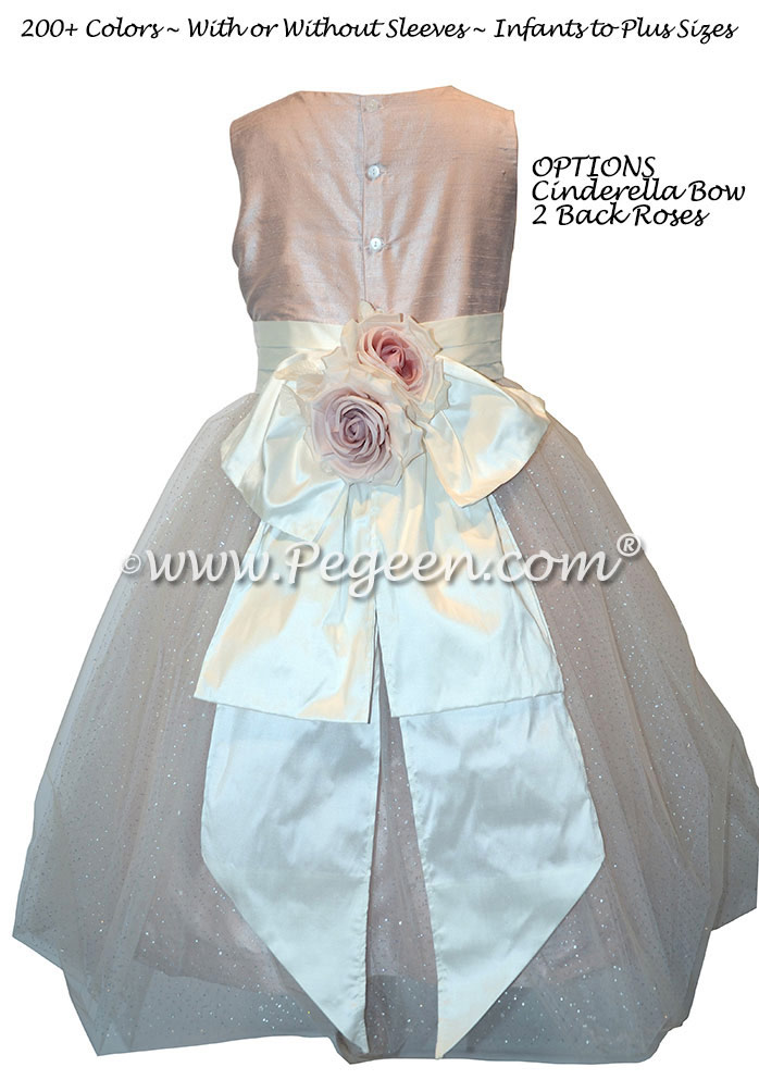 Bisque and Ballet Pink Flower Girl Dresses with Pegeen Signature Flowers