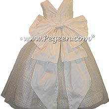 New Ivory silk Flower Girl Dress - Style 372