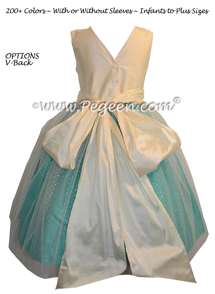 Flower girl dresses in Paradise Blue and Bisque Glitter Tulle