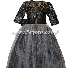 Custom Flower Girl Dresses in silver and sequins with 3/4 Sleeves
