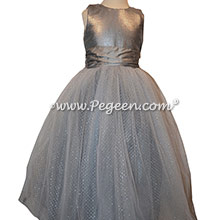 Silver sequin and silk flower girl dress in gray