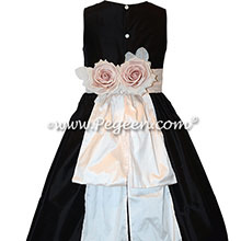 Champagne Pink and Black Custom SIlk Flower Girl Dresses with back roses