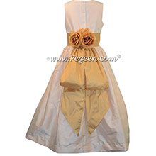 Spun Gold and Champagne Pink Silk junior bridesmaid dress