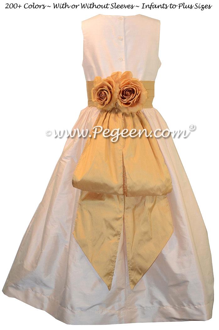 Spun Gold and Champagne Pink Silk junior bridesmaid dress