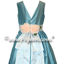 French Blue and Platinum Silk flower girl dresses and back flowers