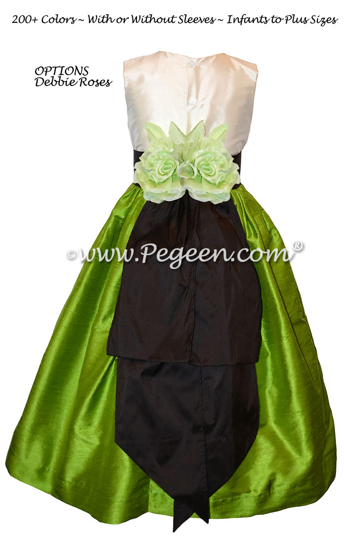 Grass green and semi-sweet chocolate flower girl dress in silk