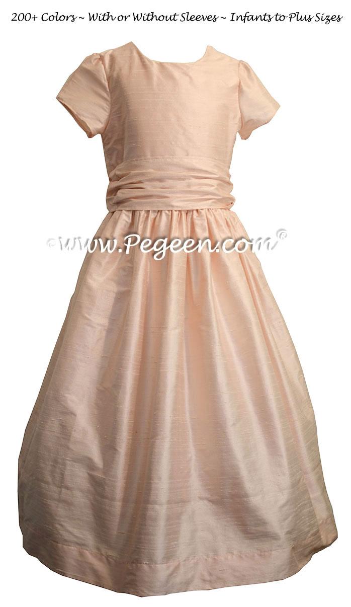 Custom Flower Girl Dress in Baby Pink with 1/4 Cap Sleeves | Pegeen