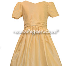 Pure gold custom silk flower girl dresses - Pegeen Classic 388 with Sweetheart Neckline