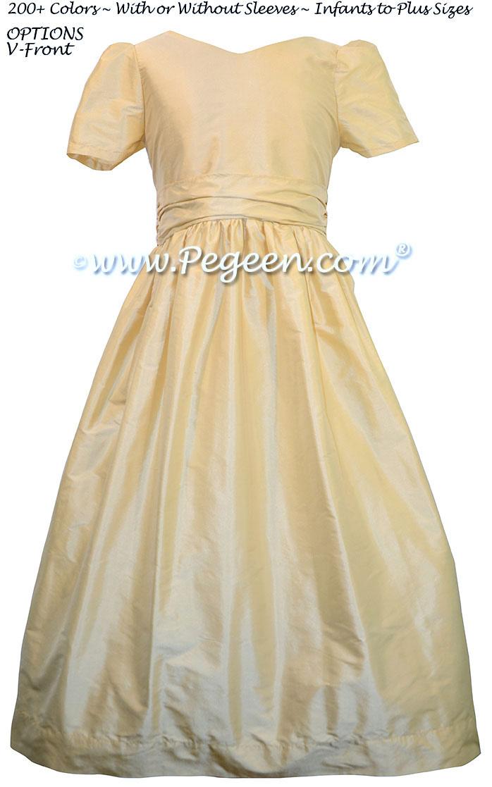 Silk Flower Girl Dresses in Buttercreme -  Classic Style 388