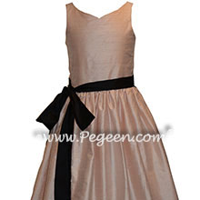 Jr Bridesmaids Dress in Ballet Pink and Black