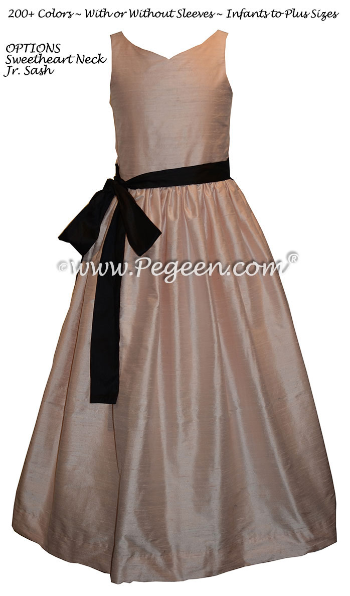 Ballet Pink, Peach and Black Jr. Bridesmaids dresses Style 388