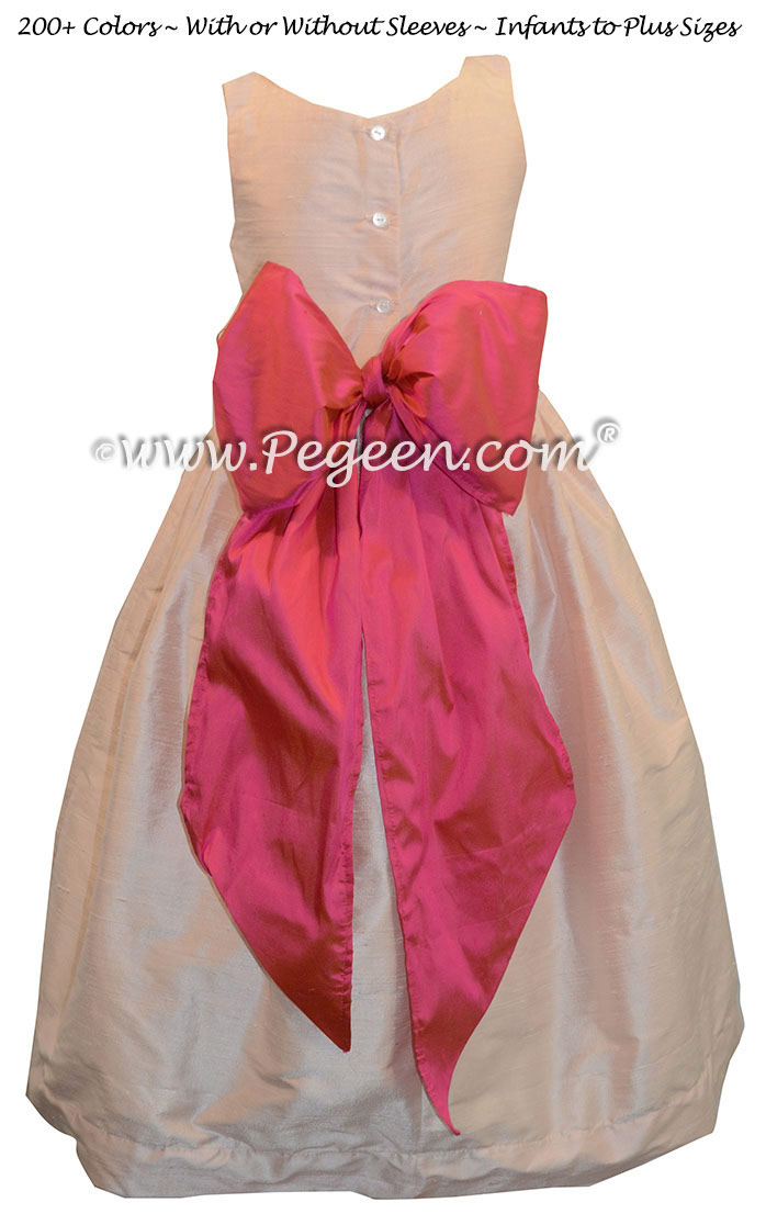 Baby Pink and Sorbet Pink Jr. Bridesmaid Dress Style 388