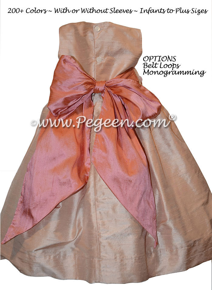 Monogrammed Toddler Flower Girl Dress with Coral Monogram and Peach Silk