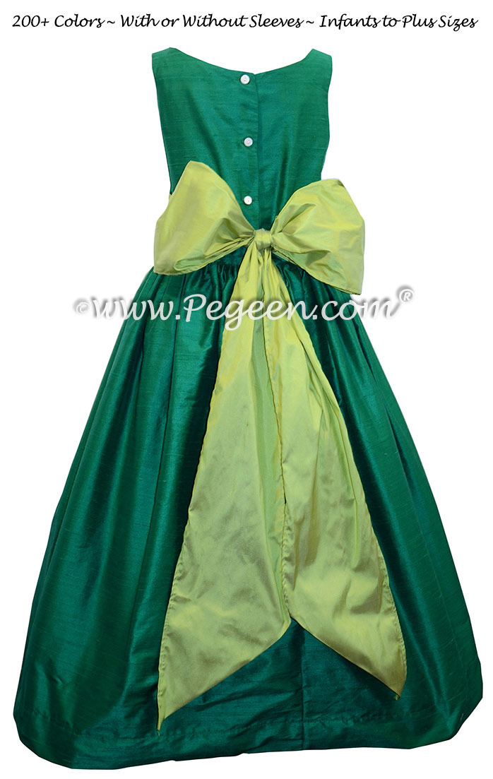 Emerald and Sprite Green silk flower girl dresses