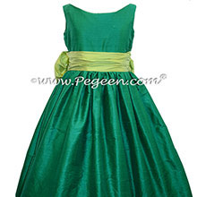SPRITE GREEN AND Emerald Green SILK FLOWER GIRL DRESS