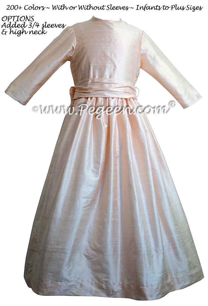 Blush Pink silk flower girl dresses Style 318