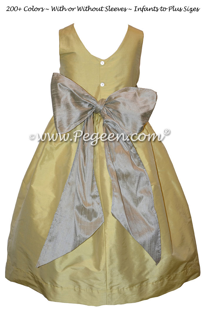 Flower Girl Dress in Dandelion and Silver Gray - Pegeen Style 388