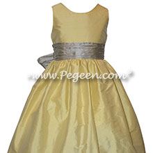 Flower Girl Dress Style 388 in Lemonaid and Silver Gray