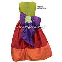 Mango and Lipstick Pink and Royal Purple silk flower girl dresses Style 345 by Pegeen