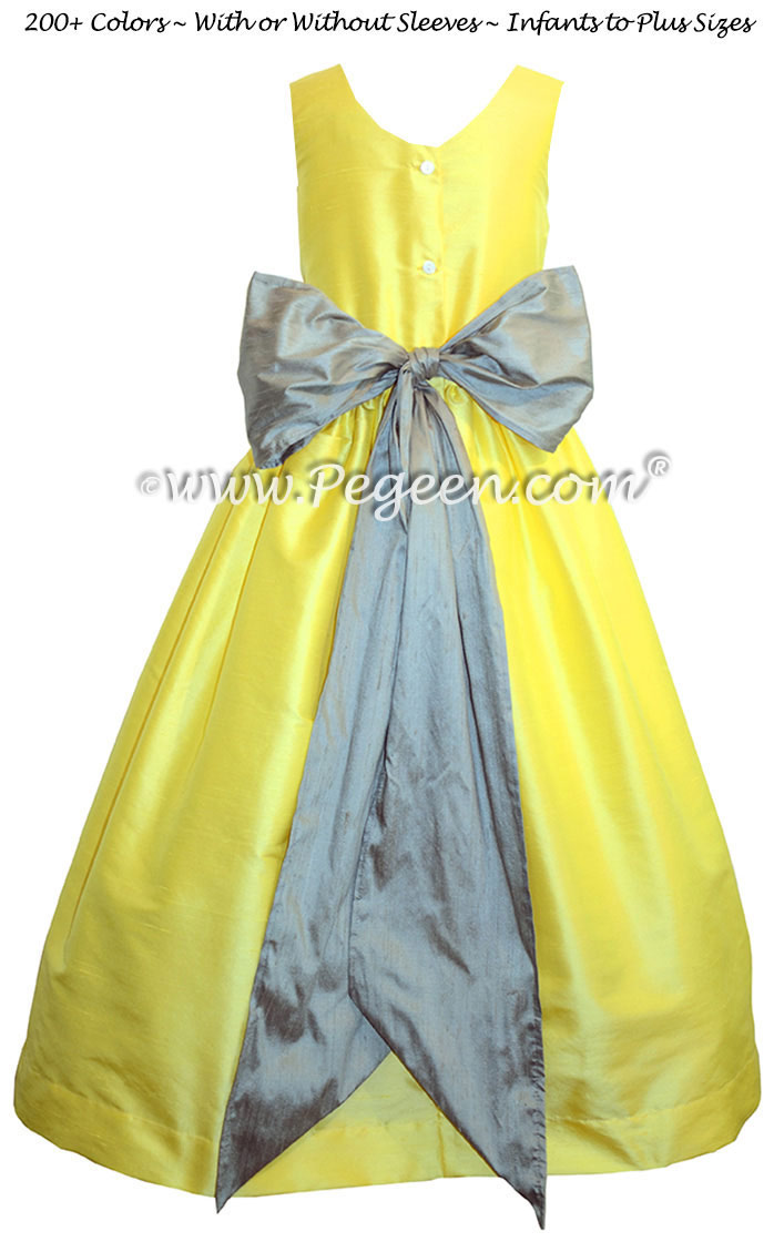 Flower Girl Dress in Lemonade and Morning Gray - Pegeen Style 388